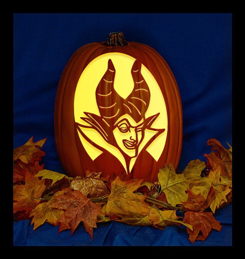 Maleficent 02 Hand Carved On A Foam Pumpkin Plug In Light With Switch Included