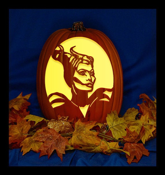 Maleficent Hand Carved On A Foam Pumpkin Plug In Light With Switch Included