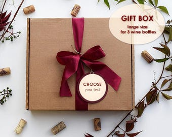 large christmas cardboard box wine box for 3 bottleschristmas gift box birthday presents wine boxthank you wine boxthank you box - Large Christmas Gift Boxes