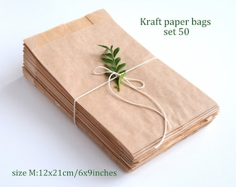 50 Kraft brown paper bags, Kraft Glassine Bag, Kraft Food Safe Bag, Wax Lined Bags - Candy, Cookies, Sandwich, Baked Goods, Gifts, Treats