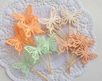 3D Butterfly Cupcake Toppers,Food Picks-Set of 12pcs