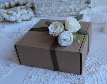 "Cardboard Boxes 6.30x6.30x3.54"", 5 pcs Boxes, Favor Gift Packing, Gift Box, Recycled cardboard Box, Wedding Favor Box, Bridesmaid gift box"
