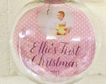Baby's First Christmas Photo Bauble - New Baby Christmas Ornament/Momento - First Christmas Decoration