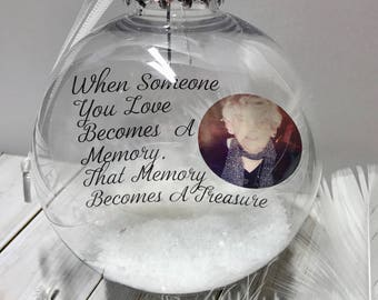 Photo Personalised Memorial Bauble - When Someone You Love Becomes A Memory - Christmas Heaven Bauble - Heaven and White Feather Bauble