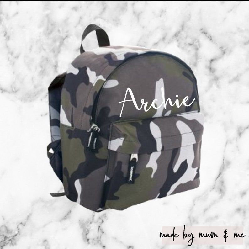 9951a677e14b Personalised Kids Camo Backpack Camouflage Bag