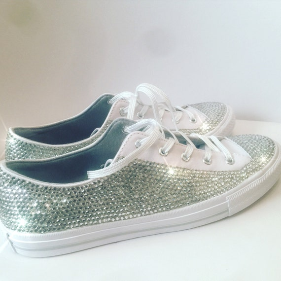 Crystal embellished adults low top