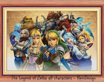 The Legend of Zelda all characters Cross stitch pattern Zelda pattern Zelda cross stitch Kids room decoration DIY Zelda pattern Kids room