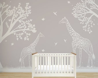 African Bush Wall Mural Mommy And Baby Giraffe Removable Or Permanent Wallpaper Animal