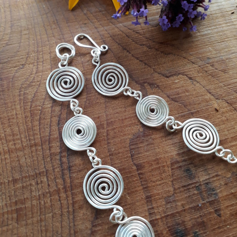 Silver spiral Celtic necklace and earring set
