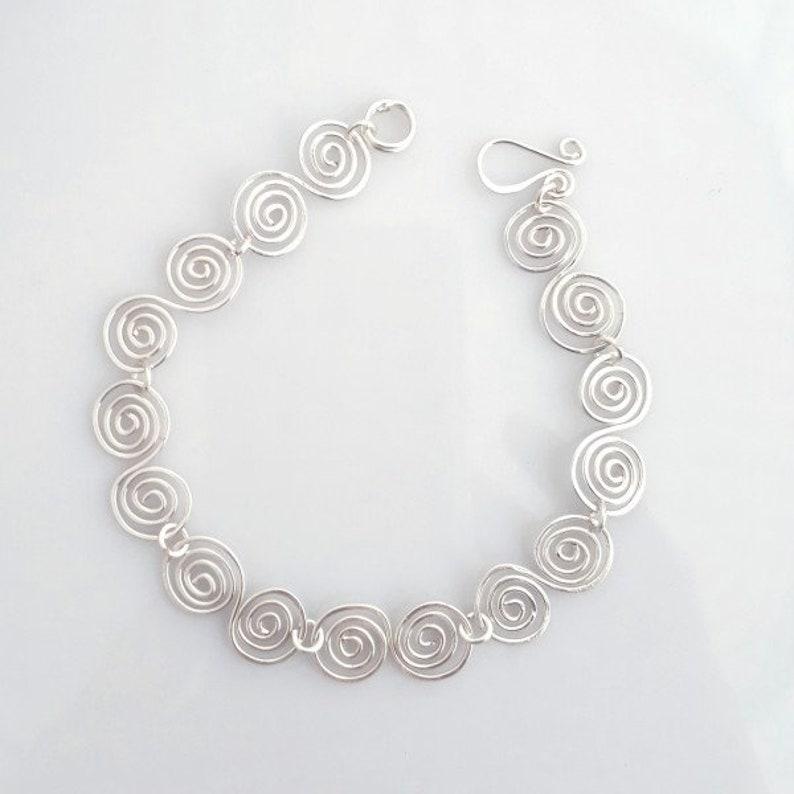 anniversary gift birthday gifts wedding jewellery Celtic Infinity silver spiral bracelet
