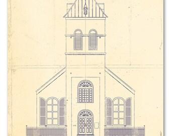 Christ church etsy old christ church blueprint malvernweather Gallery