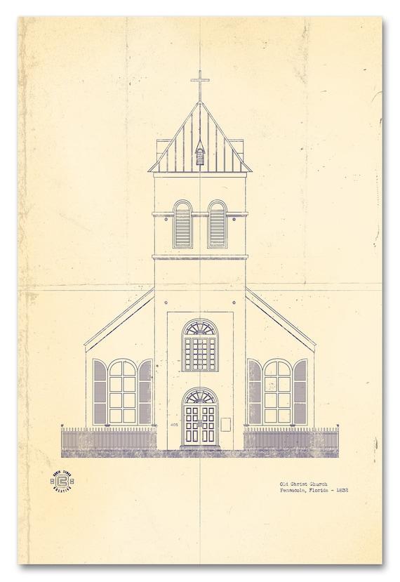 Old christ church blueprint etsy malvernweather Images