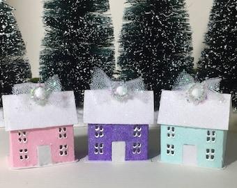 Set of 3 Glitter Houses Ornaments Putz Christmas Village Size 1