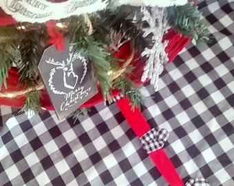 6689788a36 Buffalo Check Christmas Tree Skirt - Select Your Size, Christmas Tree Skirt,  Farmhouse Christmas, Black & White Check Christmas Tree Skirt