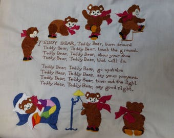 Vintage Teddy Bear crewel embroidery piece ready quilt  pillow or framed 19x19