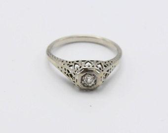 Art Deco 14k White Gold 1/4 Carat Mine Cut Diamond Engagement Ring
