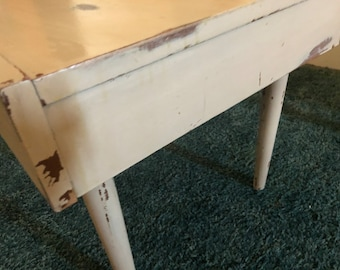 shabby chic end table, vintage table, white table, wood table, vintage side table, Distressed table