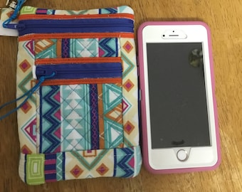 Wristlet small double zipper pouch / smart phone case.