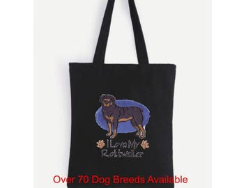 Embroidered dog tote (choose your Breed).