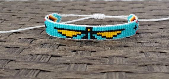 Thunderbird Seed Bead Bracelet Native Bead Loom Customizable Etsy