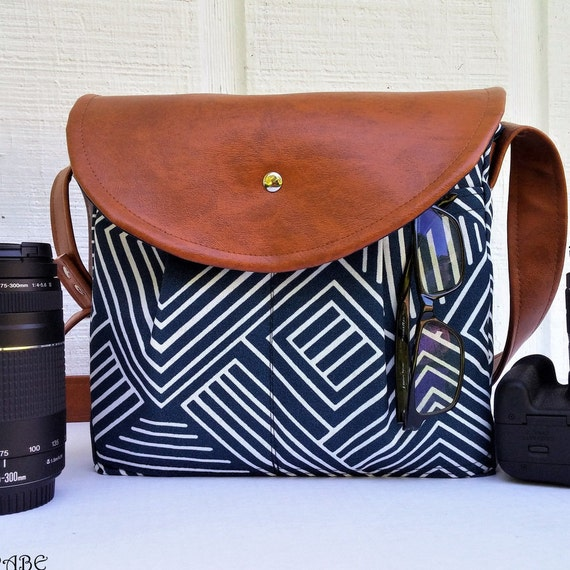 Cute SMALL Camera bag for DSLR  women camera bag with leather strap  Padded crossbody camera bag  Made by hands in USA