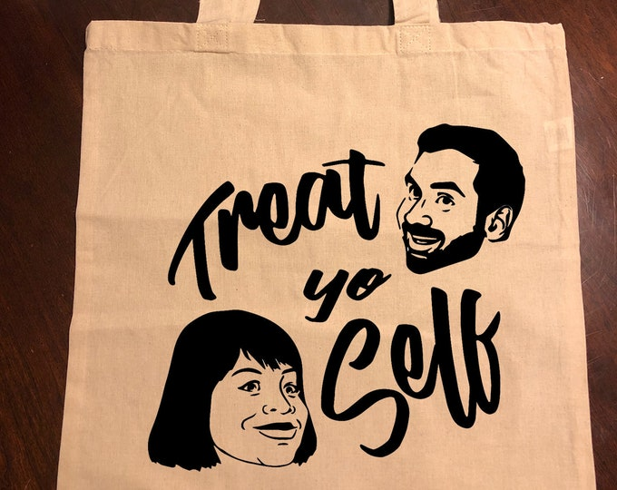 """Parks and Recreation """"Treat yo Self"""" Donna and Tom Tote Bag"""