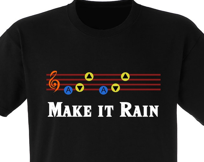 "Zelda ""Make it Rain"" Ocarina of Time Song of Storms Tshirt"