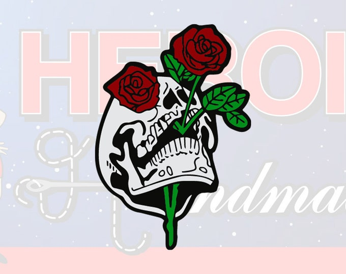 """4""""+ Skull with Roses Multicolor Adhesive Vinyl Decal"""