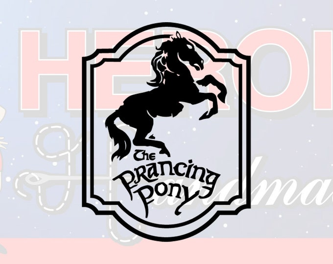 """4""""+ Prancing Pony Tavern Lord of the Rings Adhesive Vinyl Decal"""