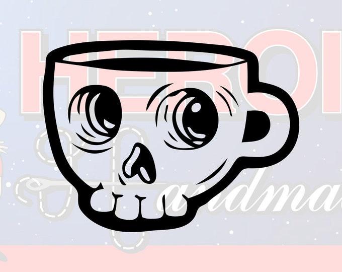 "4""+ Skull Coffee Cup Adhesive Vinyl Decal"