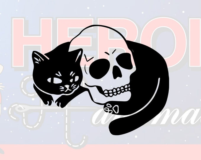 """4""""+ Skull and Kitty Cat Adhesive Vinyl Decal"""
