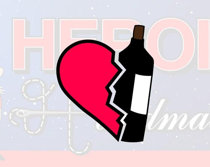 "4""+ Wine Heart Multicolor Vinyl Decal"