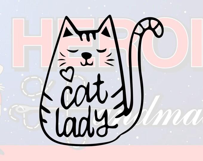 "4""+ Cat Lady Cute Kitty Adhesive Vinyl Decal"