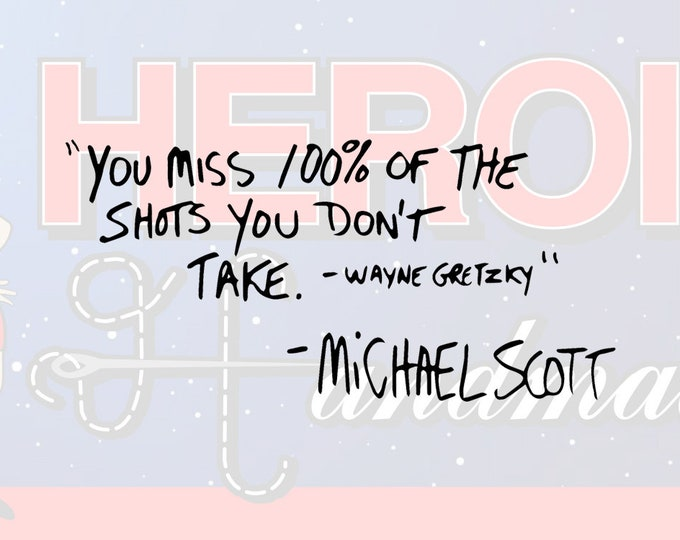 """4""""+ Michael Scott """"You Miss 100% of the Shots You Don't Take - Wayne Gretzky"""" The Office Adhesive Vinyl Decal"""
