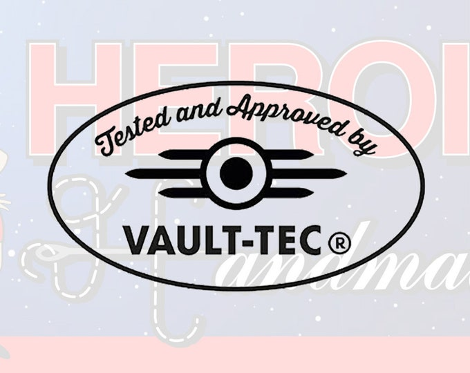 """4""""+ Tested and Approved by Vault Tec Logo Fallout Adhesive Vinyl Decal"""