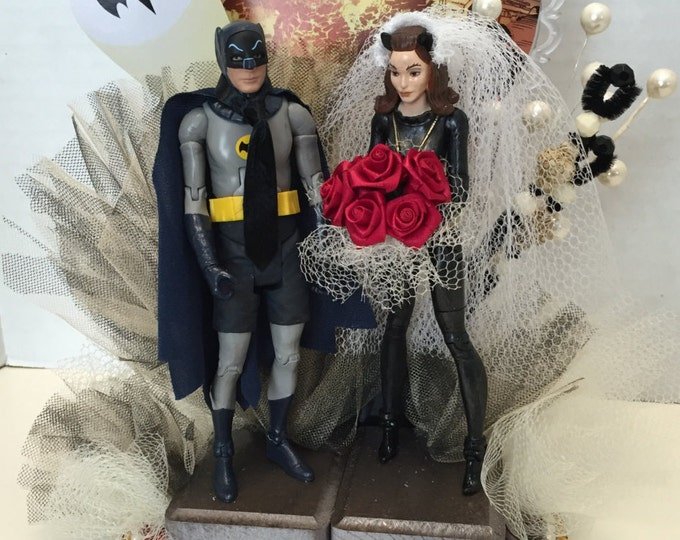 Batman/Catwoman wedding cake topper, hand crafted