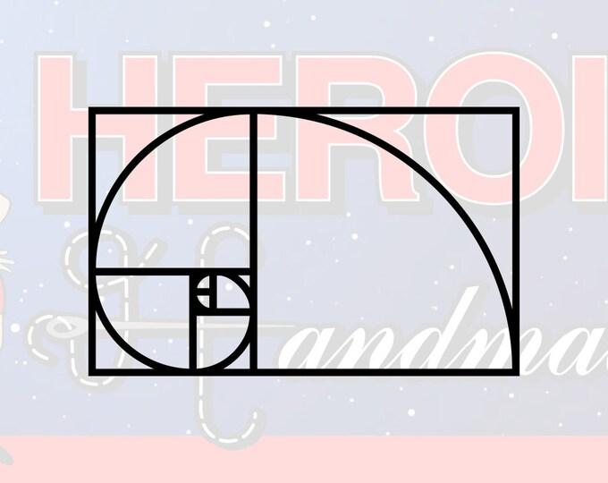 "4""+ Fibonacci Golden Ratio Spiral Adhesive Vinyl Decal"