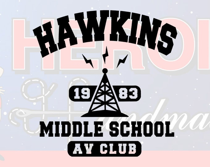 "4""+ Stranger Things Hawkins Middle School AV Club Adhesive Vinyl Decal"