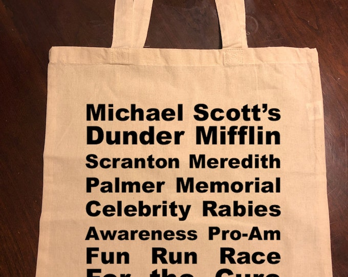 Dunder Mifflin Rabies Awareness Meredith Palmer Fun Run Race for the Cure Tote Bag