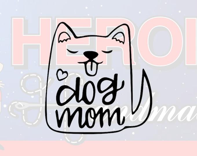 "4""+ Dog Mom Cute Puppy Adhesive Vinyl Decal"