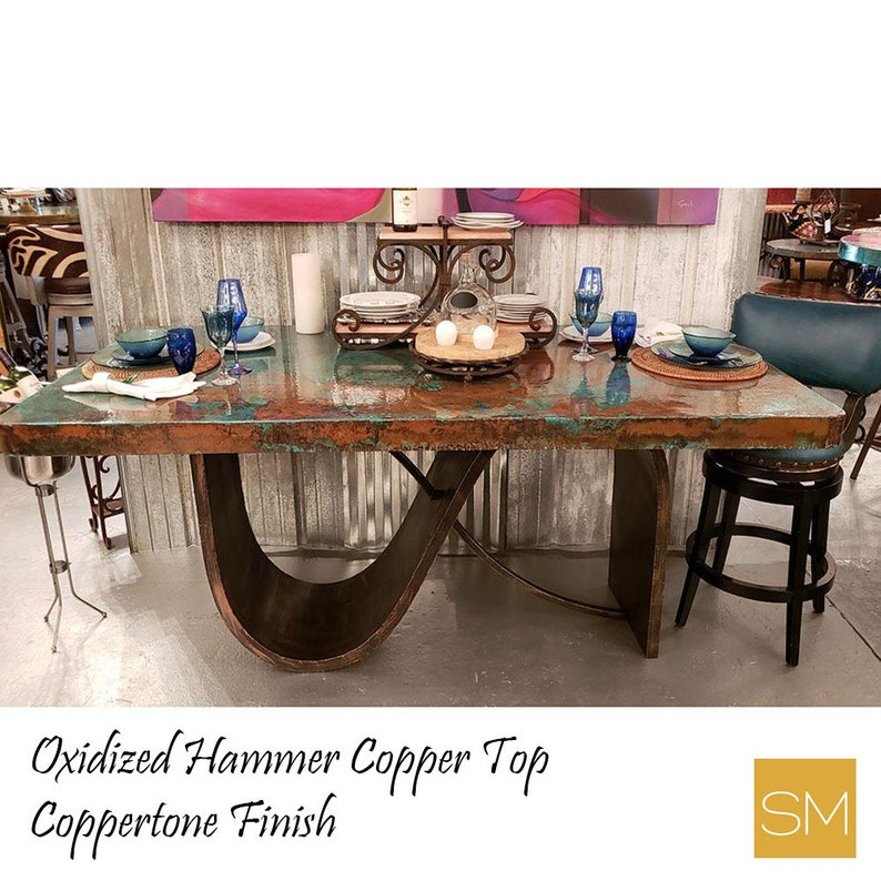 Kitchen Island Contemporary Table- Modern Table Metal with Oxidized Hammer  Copper Top, Luxury Dining Kitchen Island