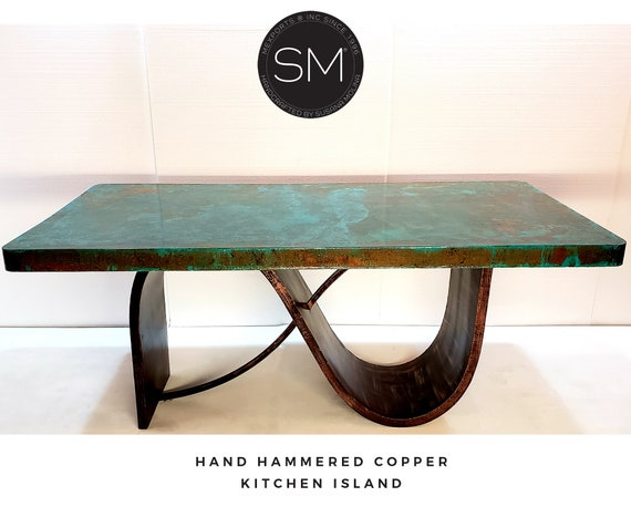 Kitchen Island Contemporary Table- Hammered Copper Top (6 ft. and up)  Industrial Metal Base