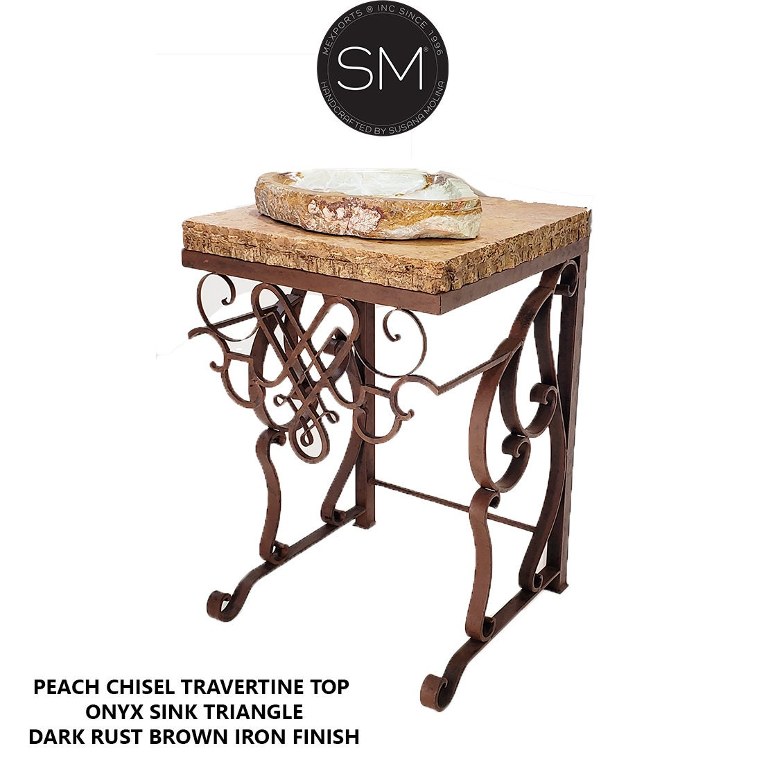 Travertine Bathroom Vanity with Green Mexican Onyx Chisel Triangle Vessel Sink - Handforged Iron  Vanity Pedestal  Model 1255 V for sale