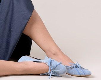 Blue jeans soft ballet flats leather handmade