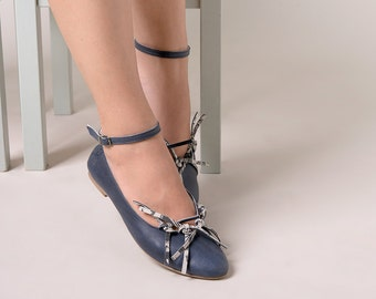 Blue ballet flats with ankle strap
