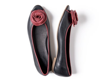 Black peep toe flat shoes with red rose leather handmade