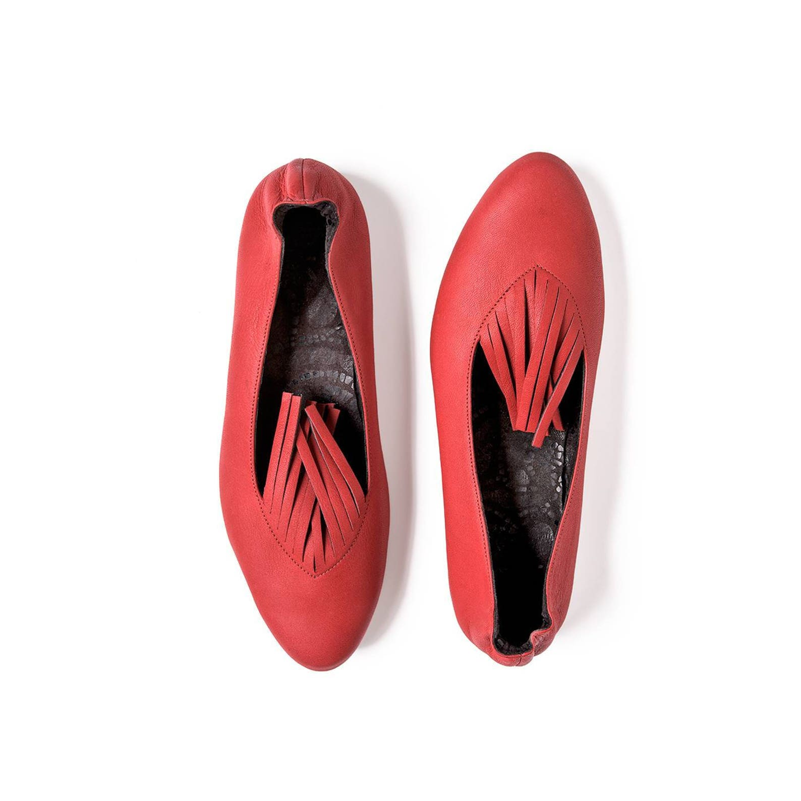 red ballet flats leather handmade, handmade high quality leather shoes, red shoes, women red shoes, red flat shoes, gift for her