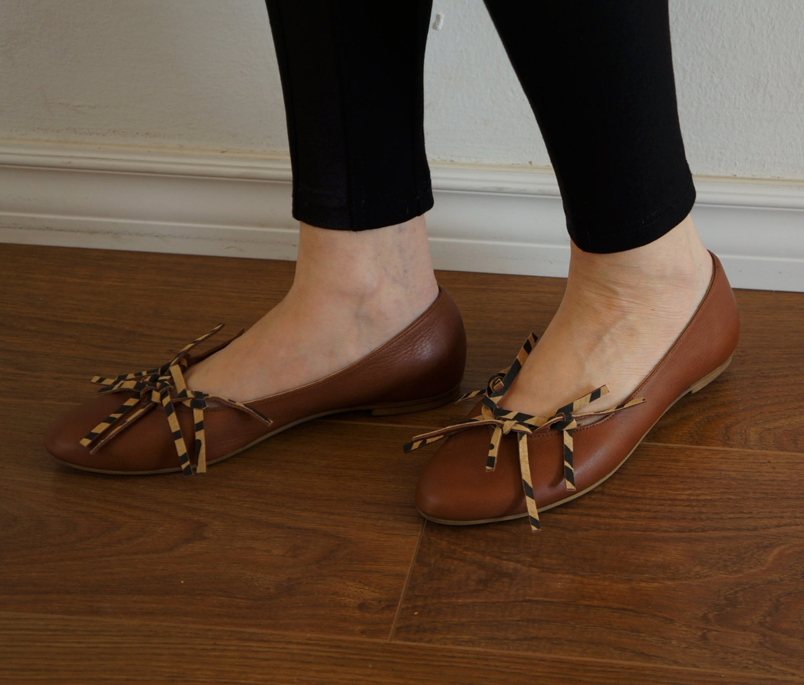 brown ballet flats with fringes, brown shoes, brown flat shoes, woman shoes, flat brown shoes, pointy shoes, gift for her, size
