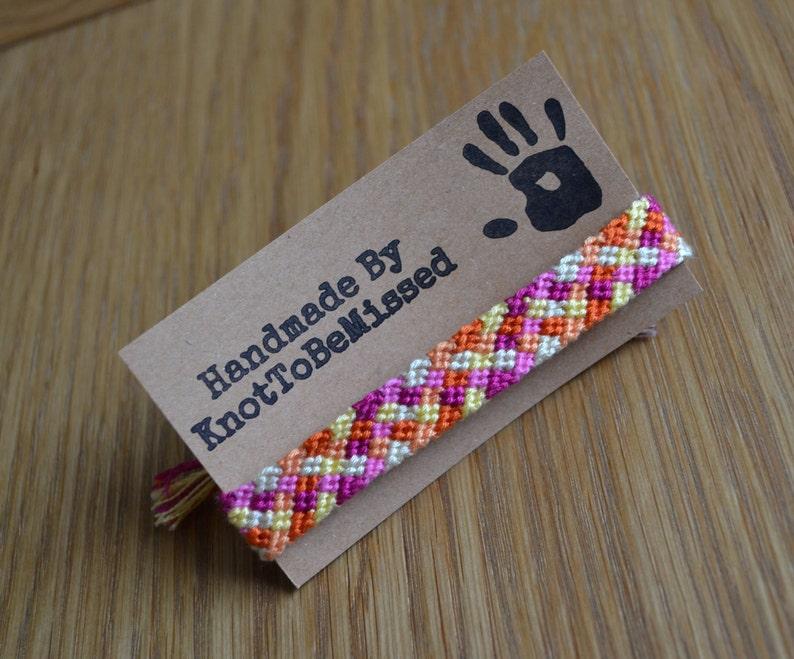 Handmade Woven Macrame Purple and Orange Checkerboard Friendship Bracelet