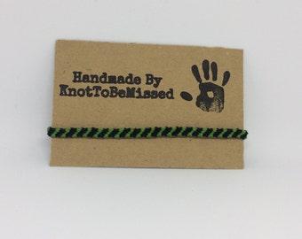 Handmade Woven Macrame Friendship Bracelet Green And Black